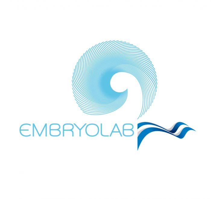 Λογότυπο Embryolab με ελληνική σημαία